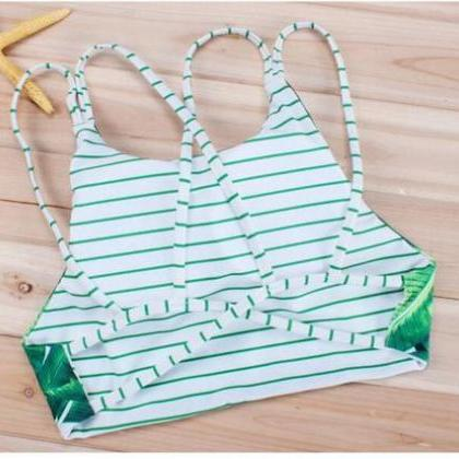 Fashion women green leaf print high..