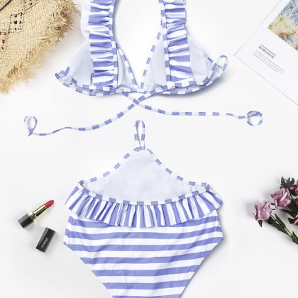 Blue and White Stripes Ruffled Acce..