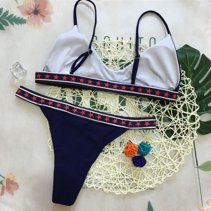 New bikini solid color five-pointed..