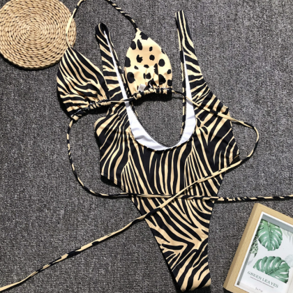 Leopard Print One Piece Swimsuit Sw..