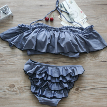 PINE GREY FALBALA TWO PIECE BIKINI