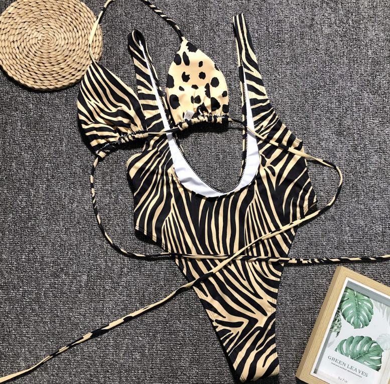 Leopard Print One Piece Swimsuit Swimwear