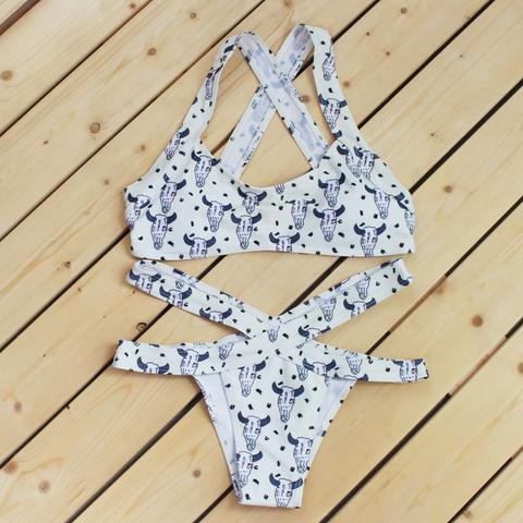 cow print white color two piece and bottom cross hollow