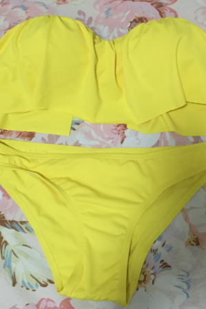 Pure color yellow halter lotus two piece bikini