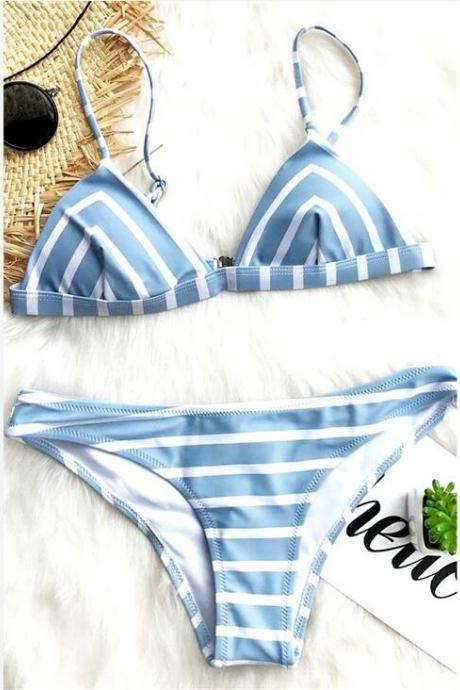 New fashion blue white stripe sexy two piece bikini swimsuit set