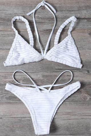 Sexy pure white stripe splicing gauze halter two straps bottom side open two piece bikini