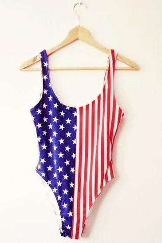 CUTE BLUE RED STRIPE FLAG ONE PIECE BIKINIS SWIMWEAR BATHSUIT