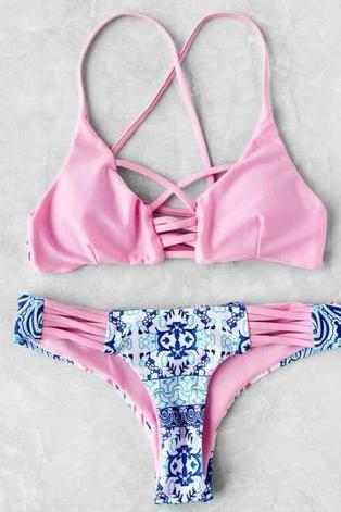 Fashion sexy hot sale chest cross hollow two piece bikini bath suit Show thin Pink