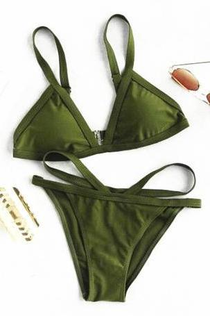 Sexy straps bikini pure green hot bottom side open two piece bikini edge stitching line
