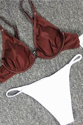 Sexy upper brown gather type bottom white two piece bikini