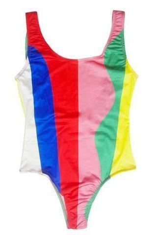 Colorful irregular splicing color split two-piece / one-piece swimsuit red pink yellow bikini