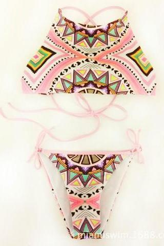 Sexy hot sale pink geometry print high neck two piece bikini bottom side knot swimsuit