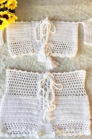 Summer new hand hook knit weave sexy hollowed-out style swimsuit off shoulder short sleeve two piece bikini white