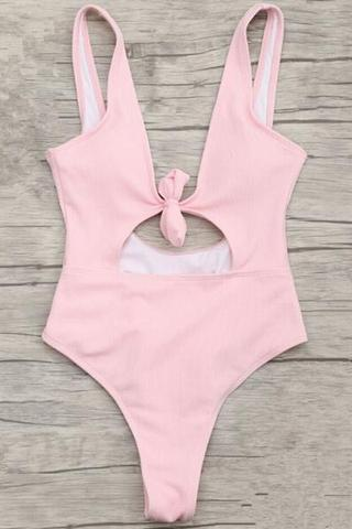 Light Pink Tie-Front Cutout One-Piece Swimsuit