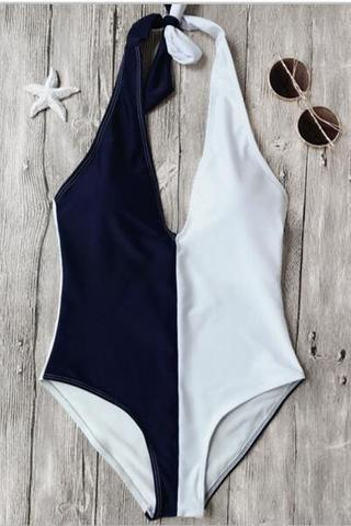 Sexy halter navy blue white splicing color one piece bikini show thin