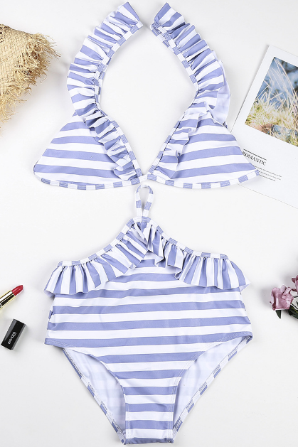Blue and White Stripes Ruffled Accent Plunge V One-Piece Swimsuit Featuring Cutout Detailing