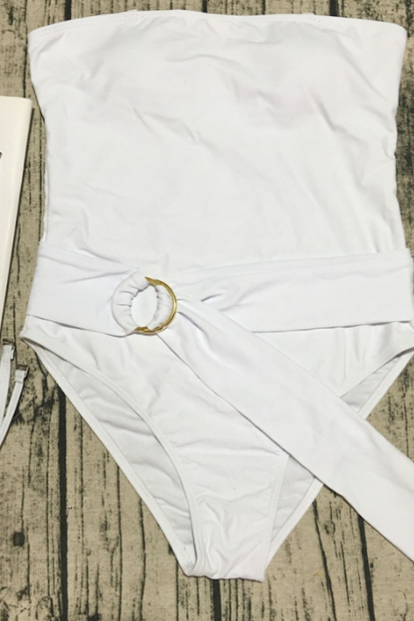 Conjoined bikini pure color belt swimsuit female sexy integrated WHITE