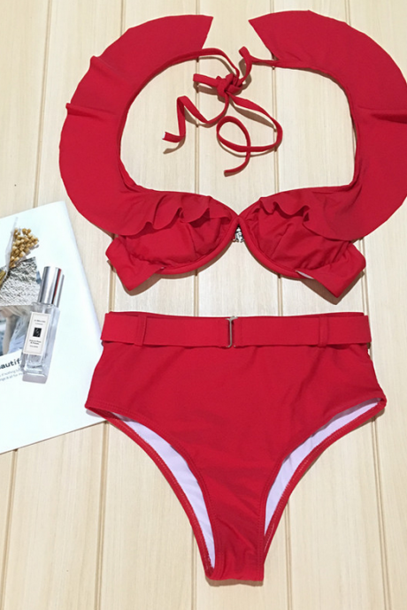 Hot style solid color bikini flounce strap swimsuit women's high-waisted swimsuit steel support