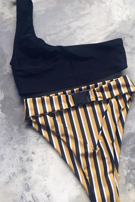 Pop sexy striped high-waisted bathing suit