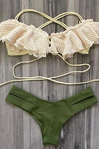 CUTE FALBALA NET TWO PIECE BIKINI