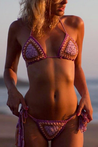 FASHION CONTRAST WOVEN TWO PIECE BIKINIS