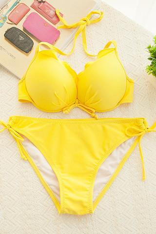HOT CUTE FLOWER KNOT WAVE PURE COLOR BIKINIS