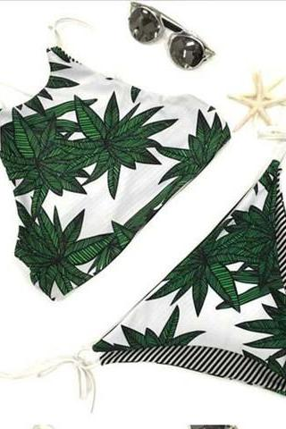 CUTE SEXY LEAF STRIPE BELLYBAND TWO SIDES WEAR TWO PIECE BIKINI