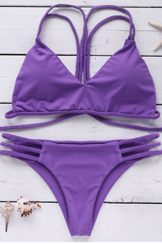 FASHION PURPLE TWO STRAPS BRAID TWO PIECE BIKINIS SWIMWEAR BATHSUIT