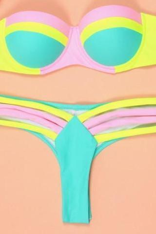 CUTE YELLOW GREEN CONTRAST TWO PIECE FRESH BIKINIS
