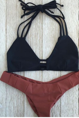 BLACK HOLLOW TOP BROWN BOTTOM TWO PIECE BIKINI
