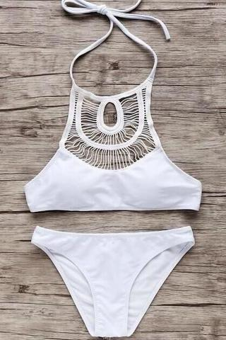 HALTER NECK HOLES TWO PIECE BIKINI