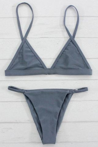 Sexy Women Swimsuit Micro Bikini Set Bathing Suits With Halter Strap Swimwear Brazilian bottom Monokini Gray