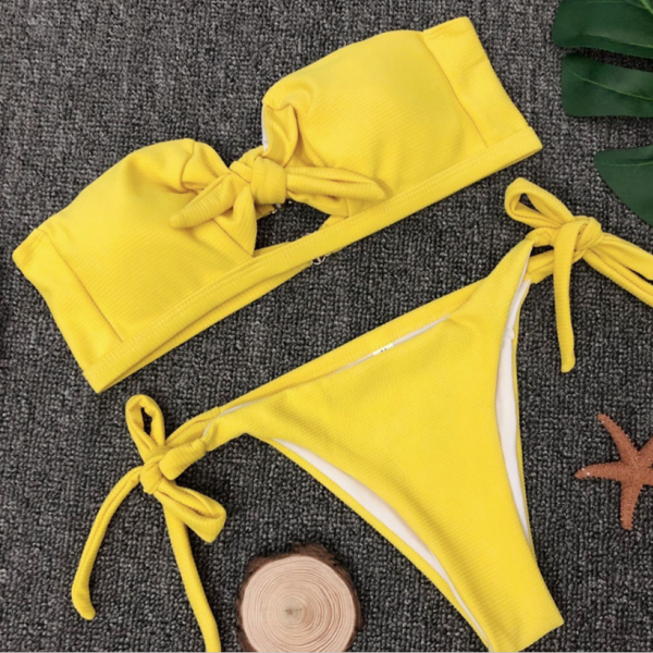New pure color chest band bow tie bikinis