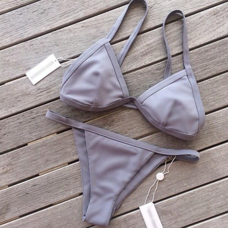 GREY SIMPLE TWO PIECE BIKINI