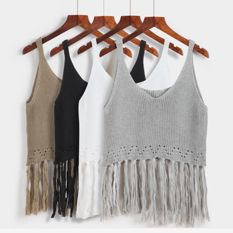 Fashion pure color free size knit with tassel women top vest